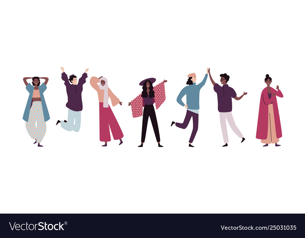 Group young happy people standing together and