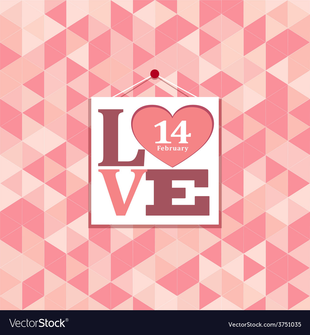 Happy valentines pink geometric greeting cards vector image