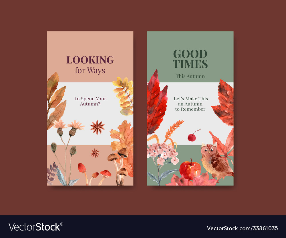 Instagram template with autumn daily concept