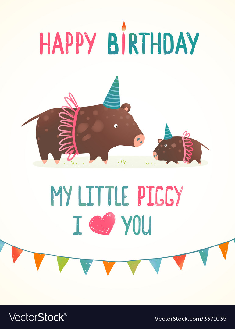 Little piggy and mother birthday greeting card vector image m4hsunfo