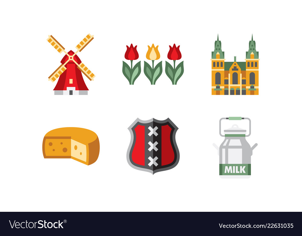 Netherlands travel icons set holland national