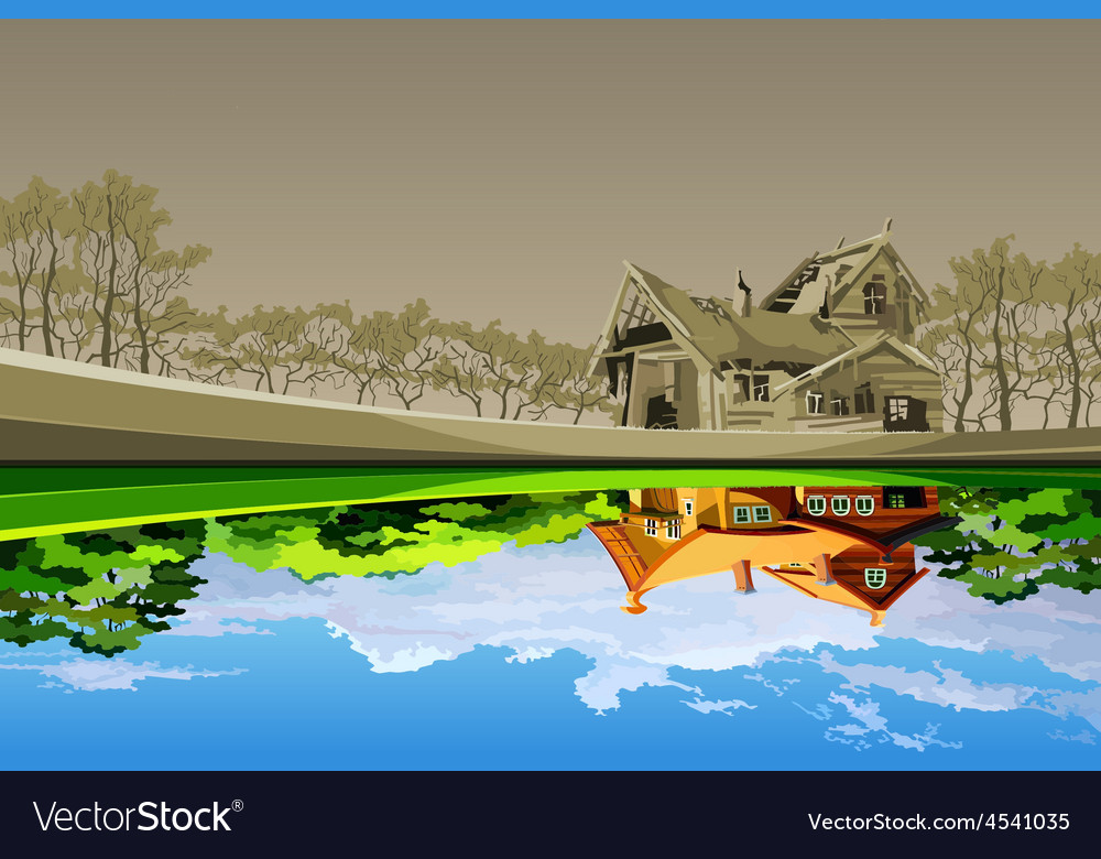 old dilapidated house reflected in the river vector image vectorstock