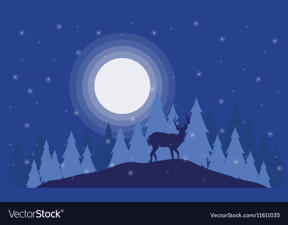 Silhouette of deer on the field Christmas scenery vector image