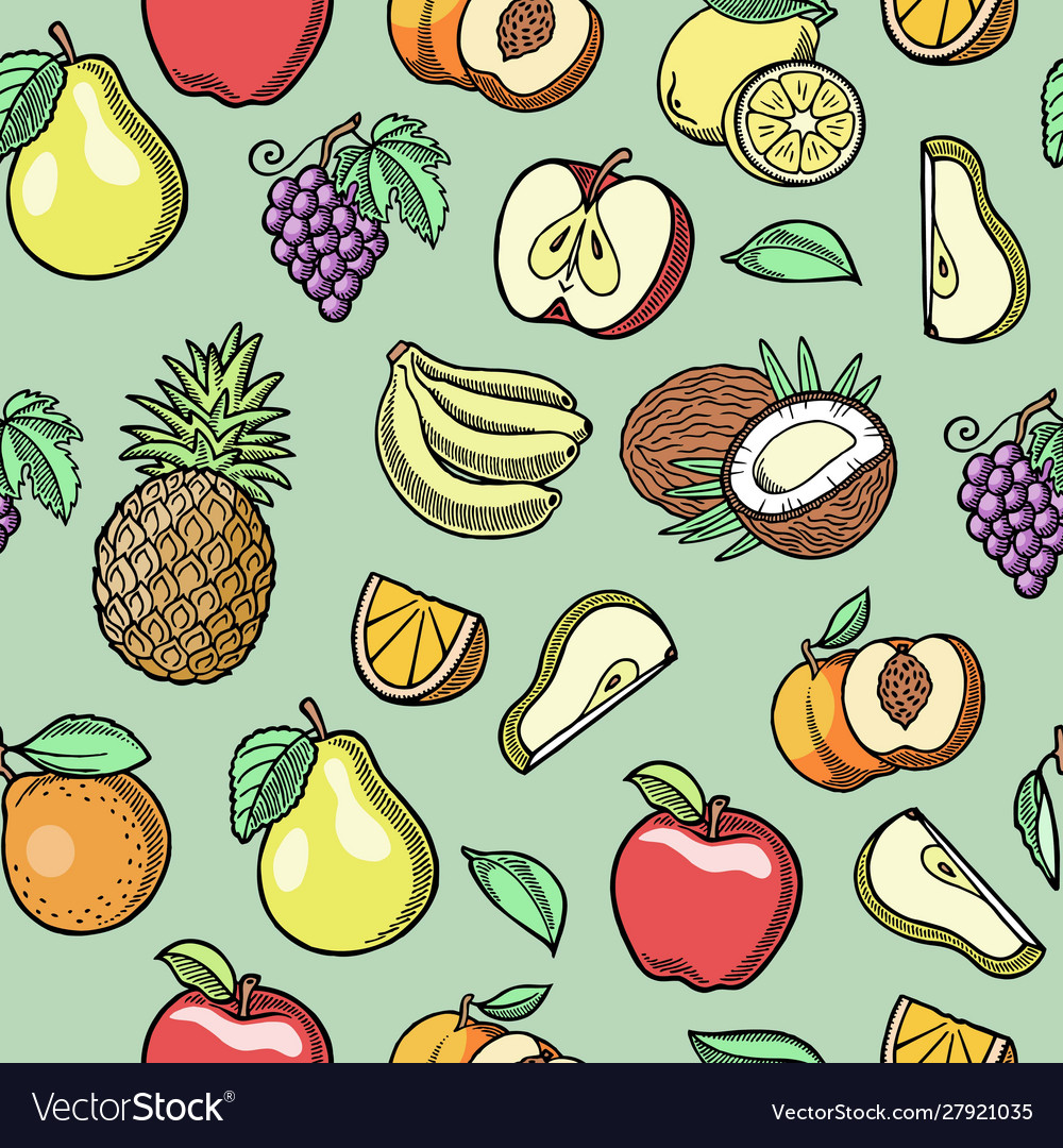 Sketch tropical fruits seamless pattern
