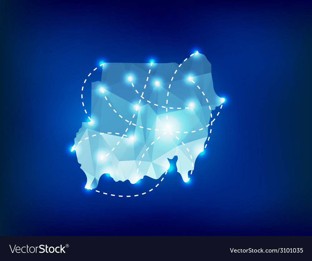 Sudan country map polygonal with spot lights place