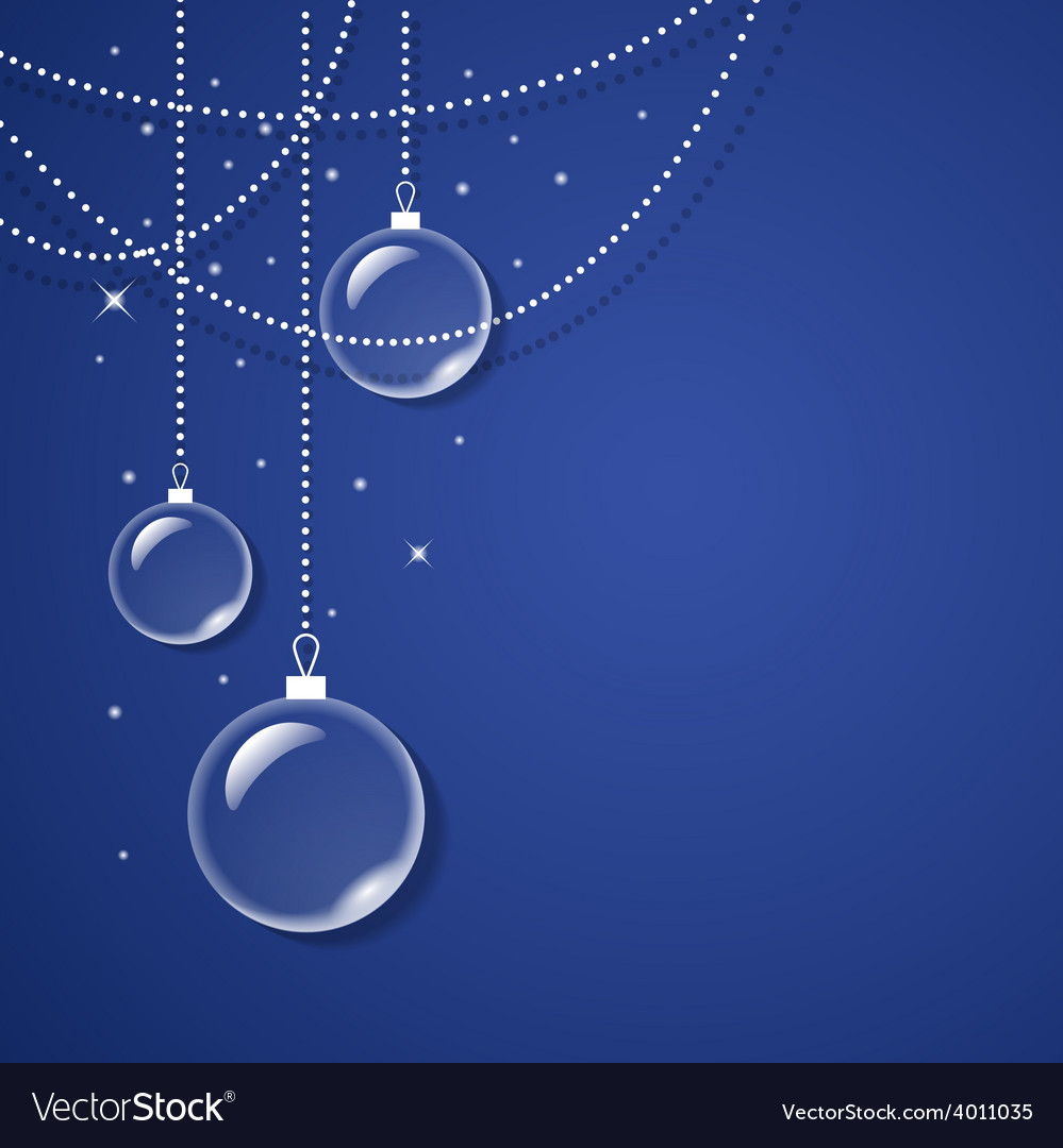 Transparent glass balls on blue background vector image