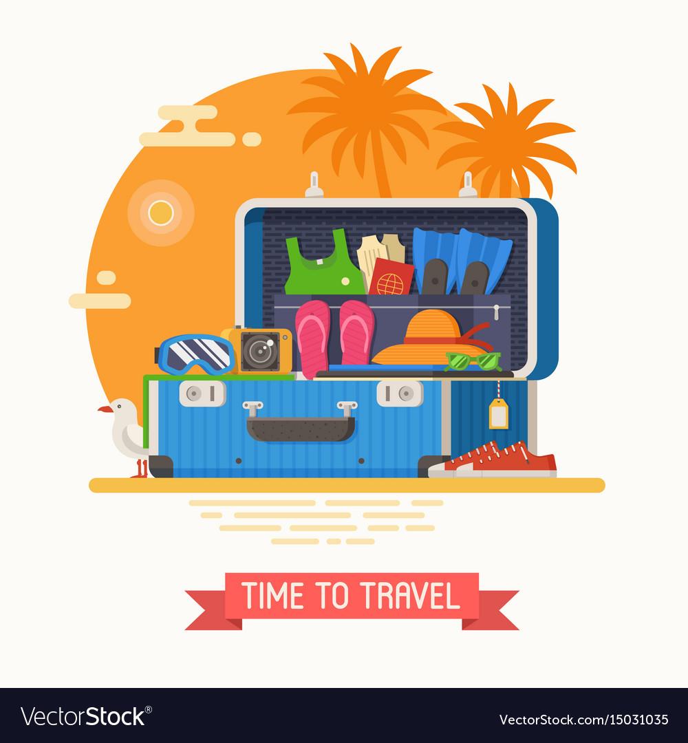 Travel suitcase fully stuffed