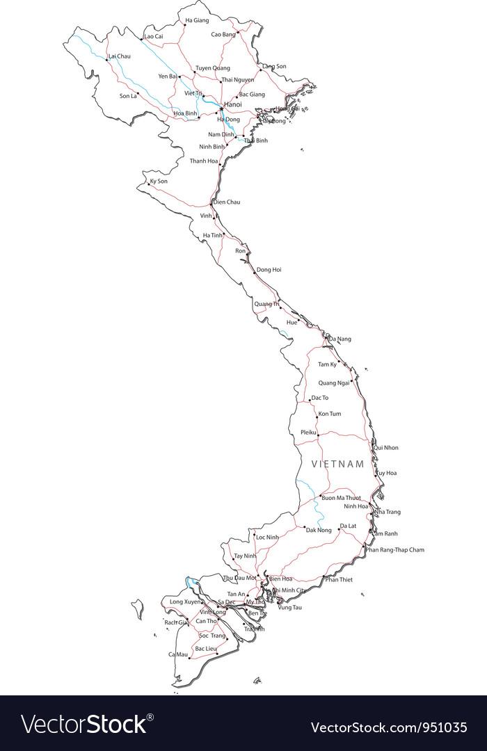 Vietnam Black White Map Royalty Free Vector Image