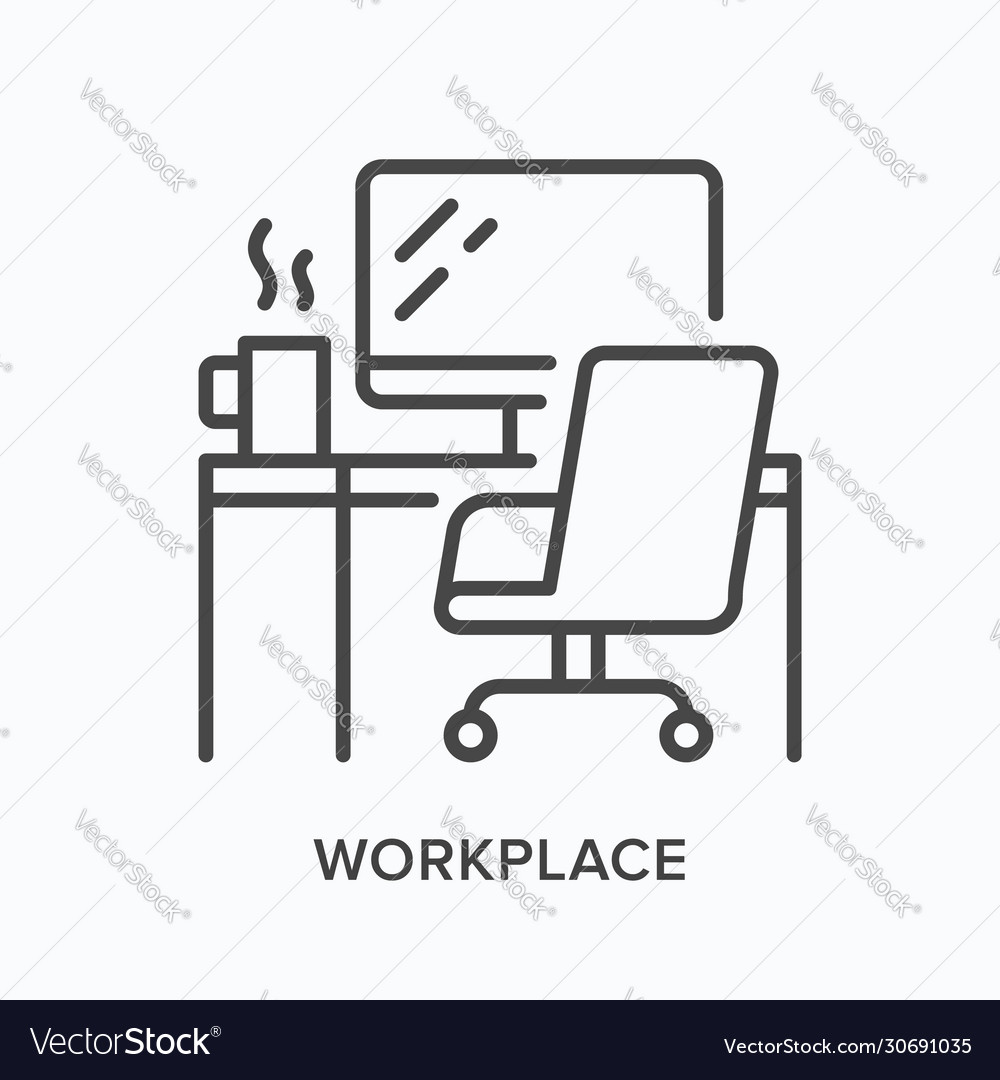 Workplace line icon table computer monitor