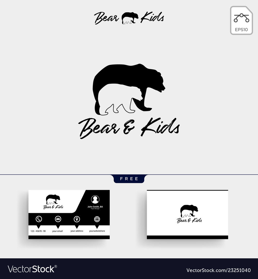 Bear mom and kids parents logo template and