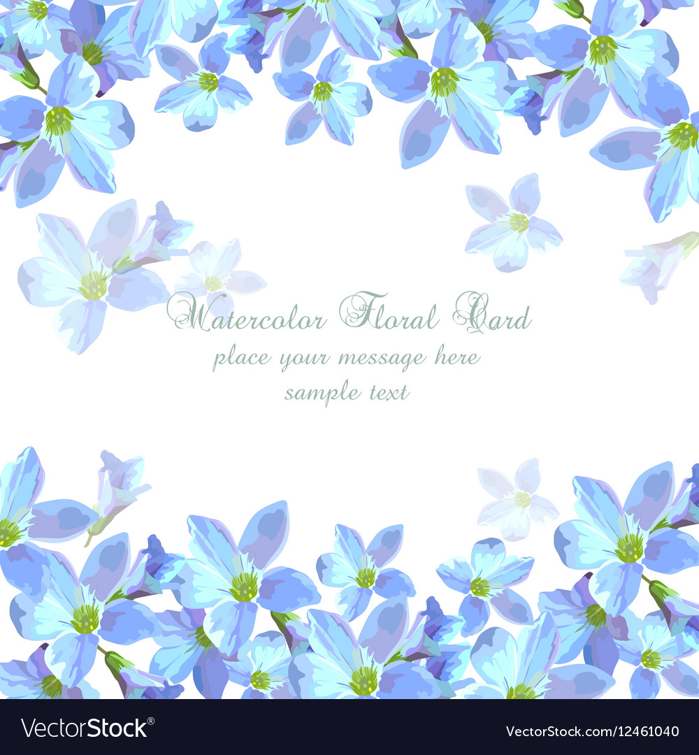 Beautiful Watercolor Blue Flowers Card Background