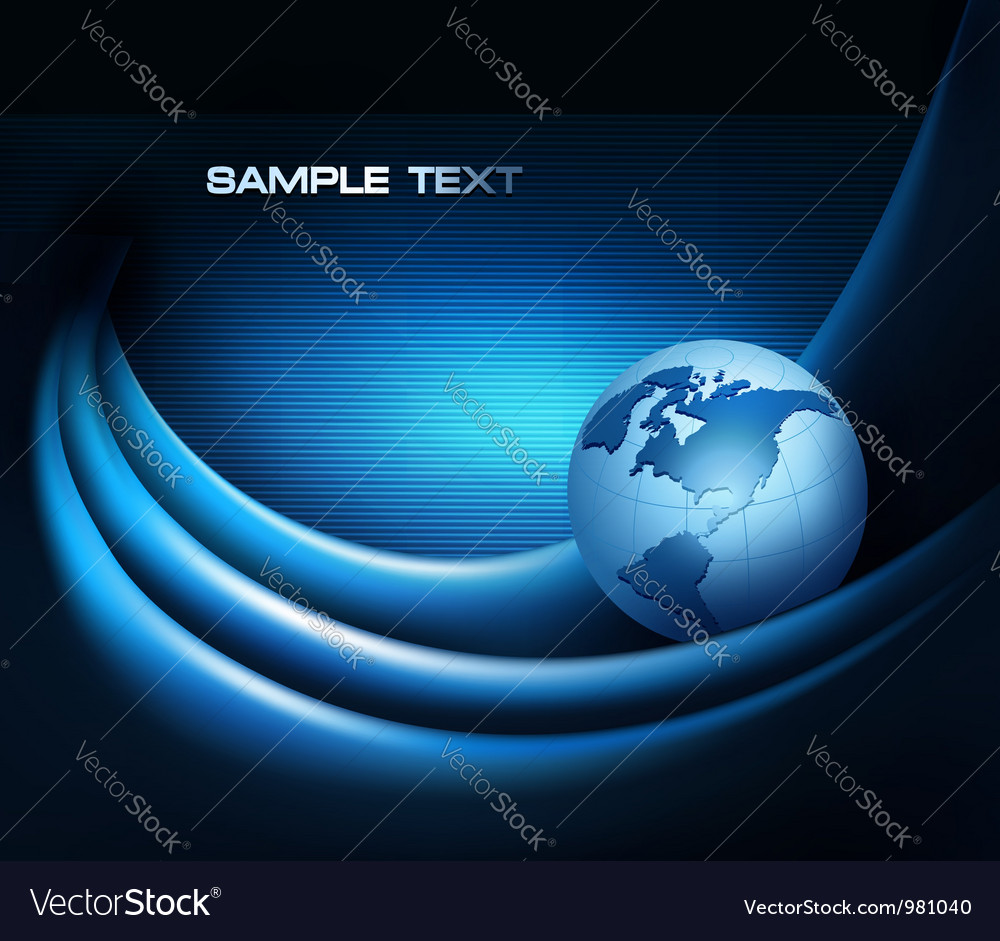 Blue neon abstract background with globe vector image