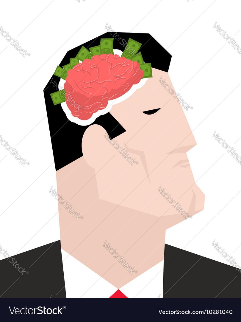 Business brain Businessman thinks of money Head of