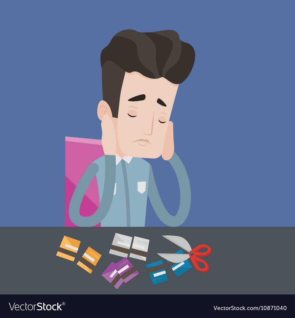 Businessman bankrupt cutting his credit card