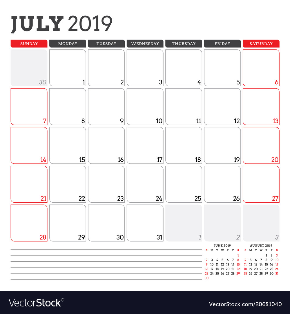 Calendar Planner Vector Free : Calendar planner for july week starts on vector image