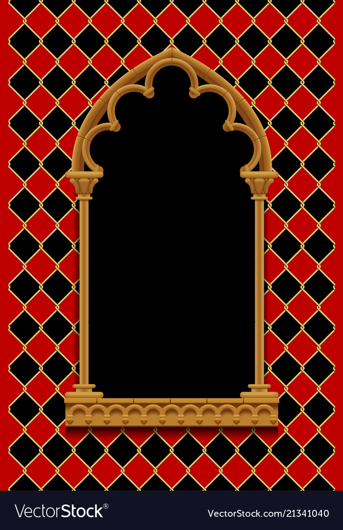 Classic gothic decorative frame on red and black