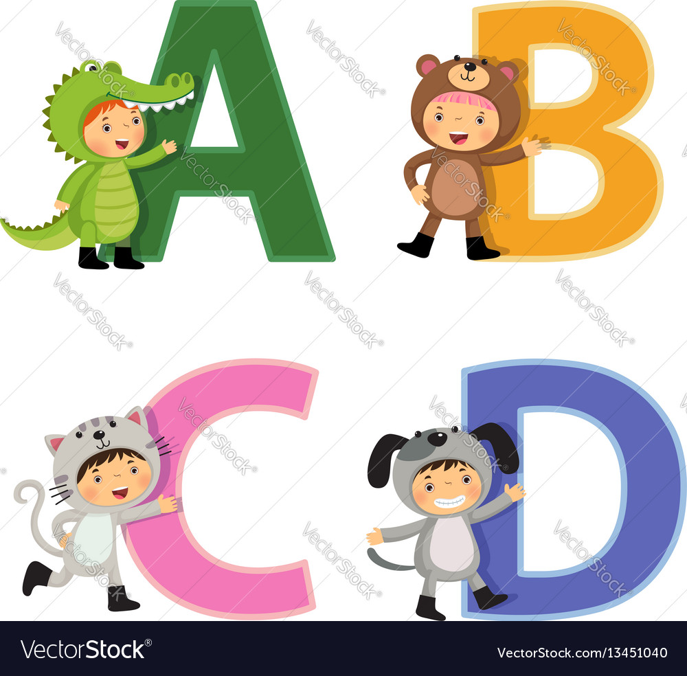 English alphabet with kids in animal costume a-d