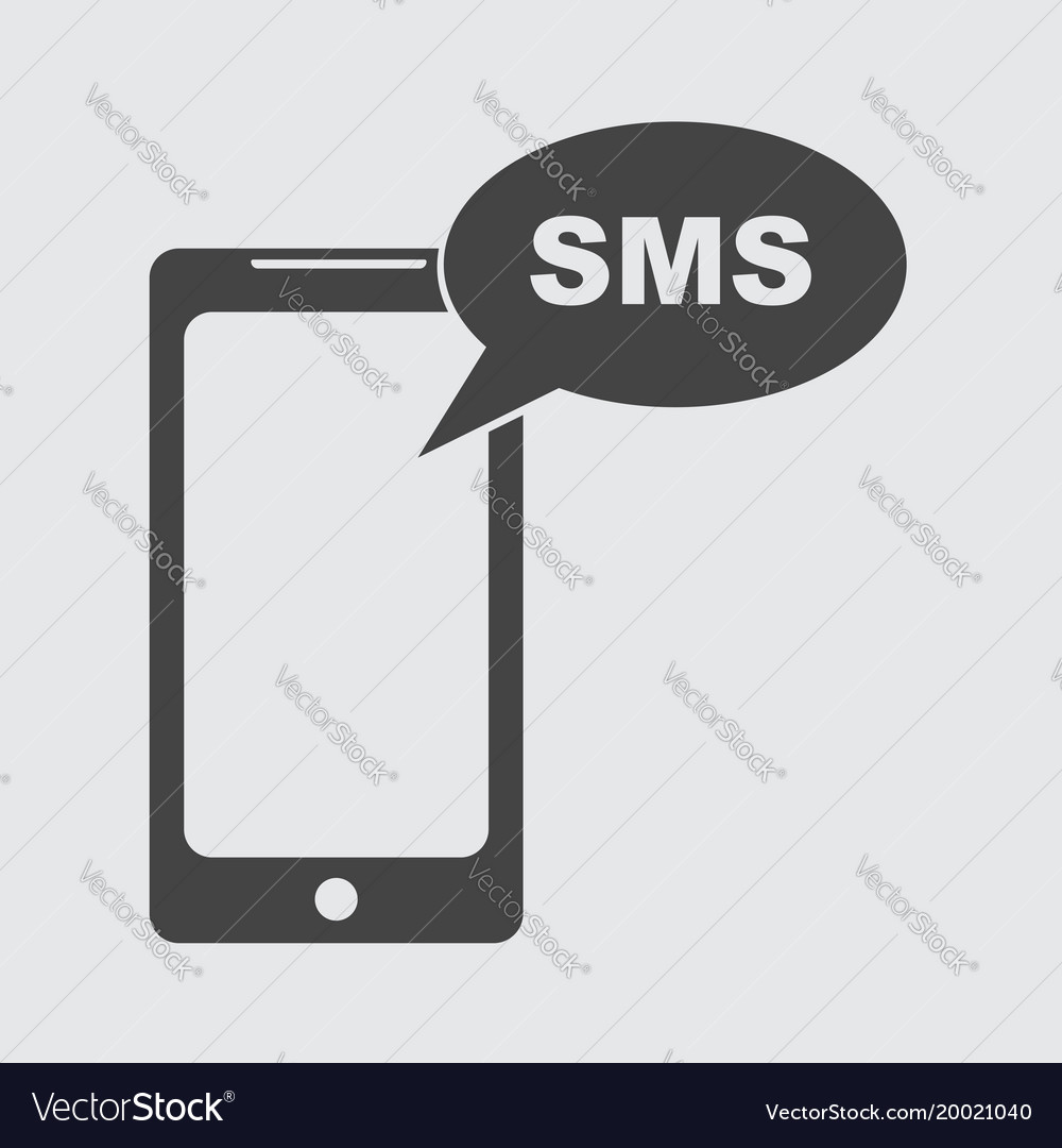 Flat smartphone icon sms message