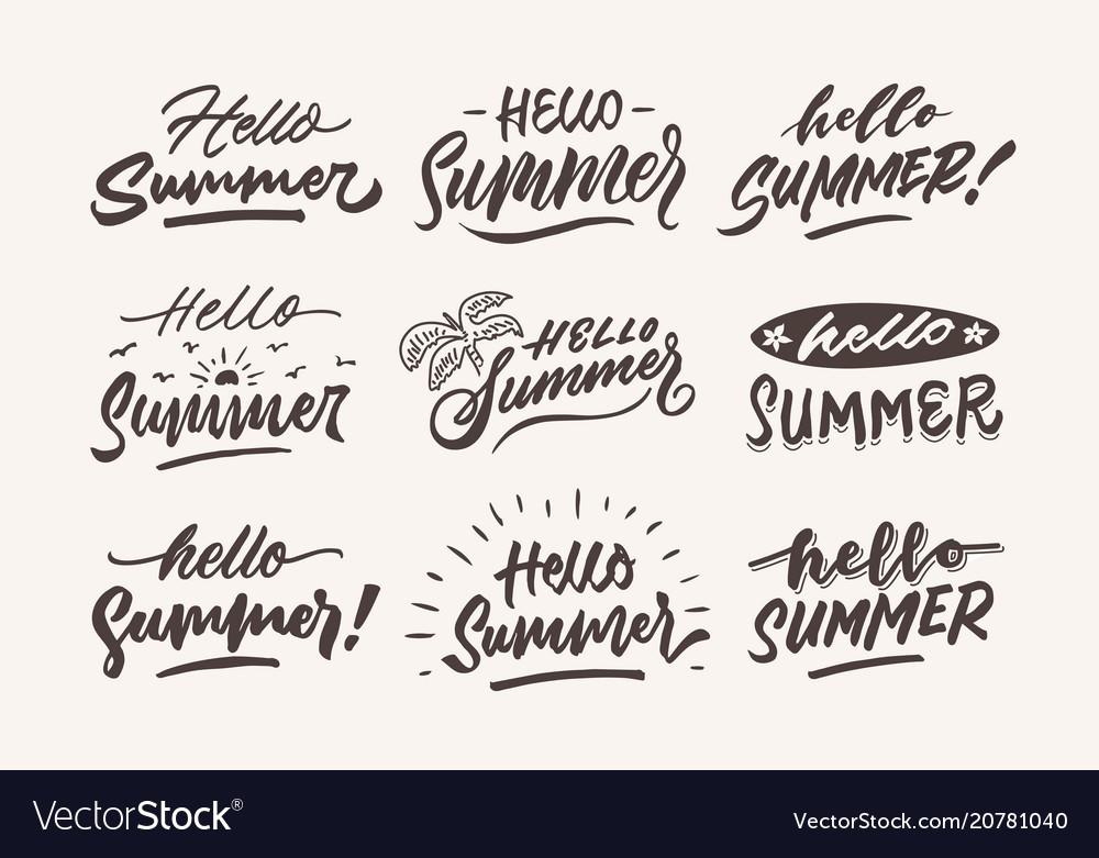 Hello summer vintage roughen hand lettering