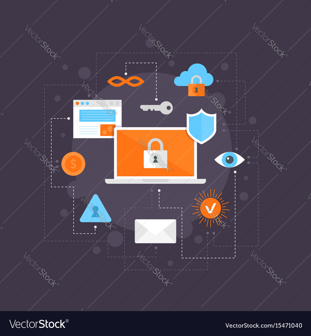 Internet security flat icons set infographic