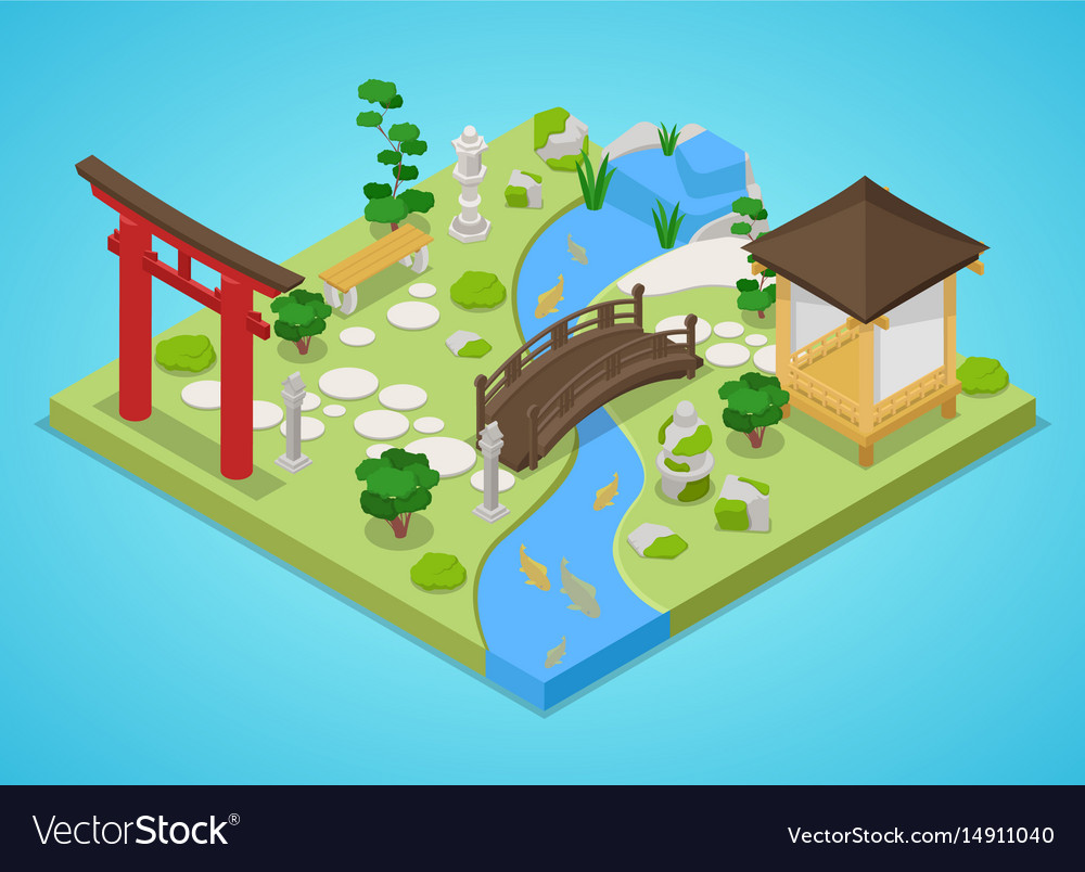 Japanese Garden With Bridge And Trees Isometric Vector Image