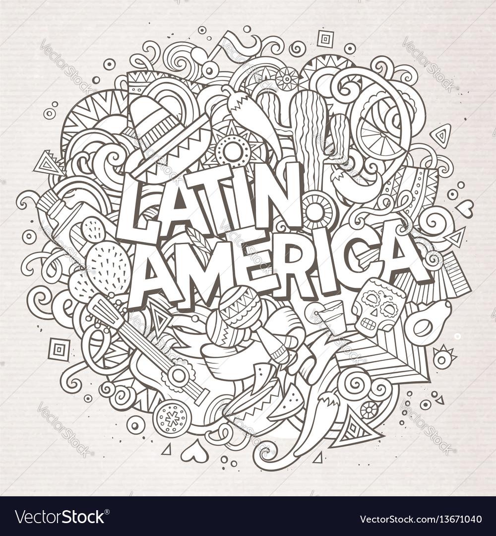 Latin america cartoon hand drawn doodle