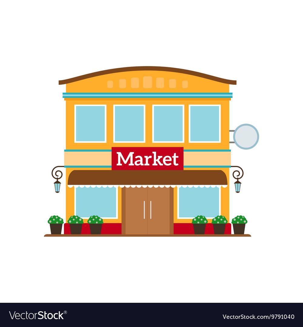 Market flat style icon isolated on white