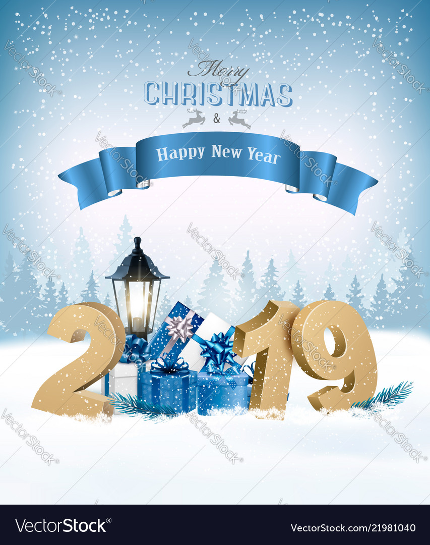 Merry Christmas Background With 2019 And Gift