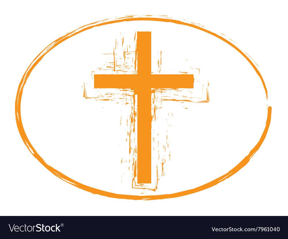 Orange grunge cross stamp symbol