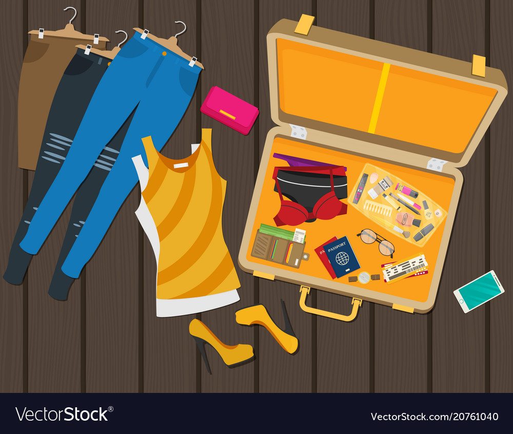 Packed suitcase for summer holiday