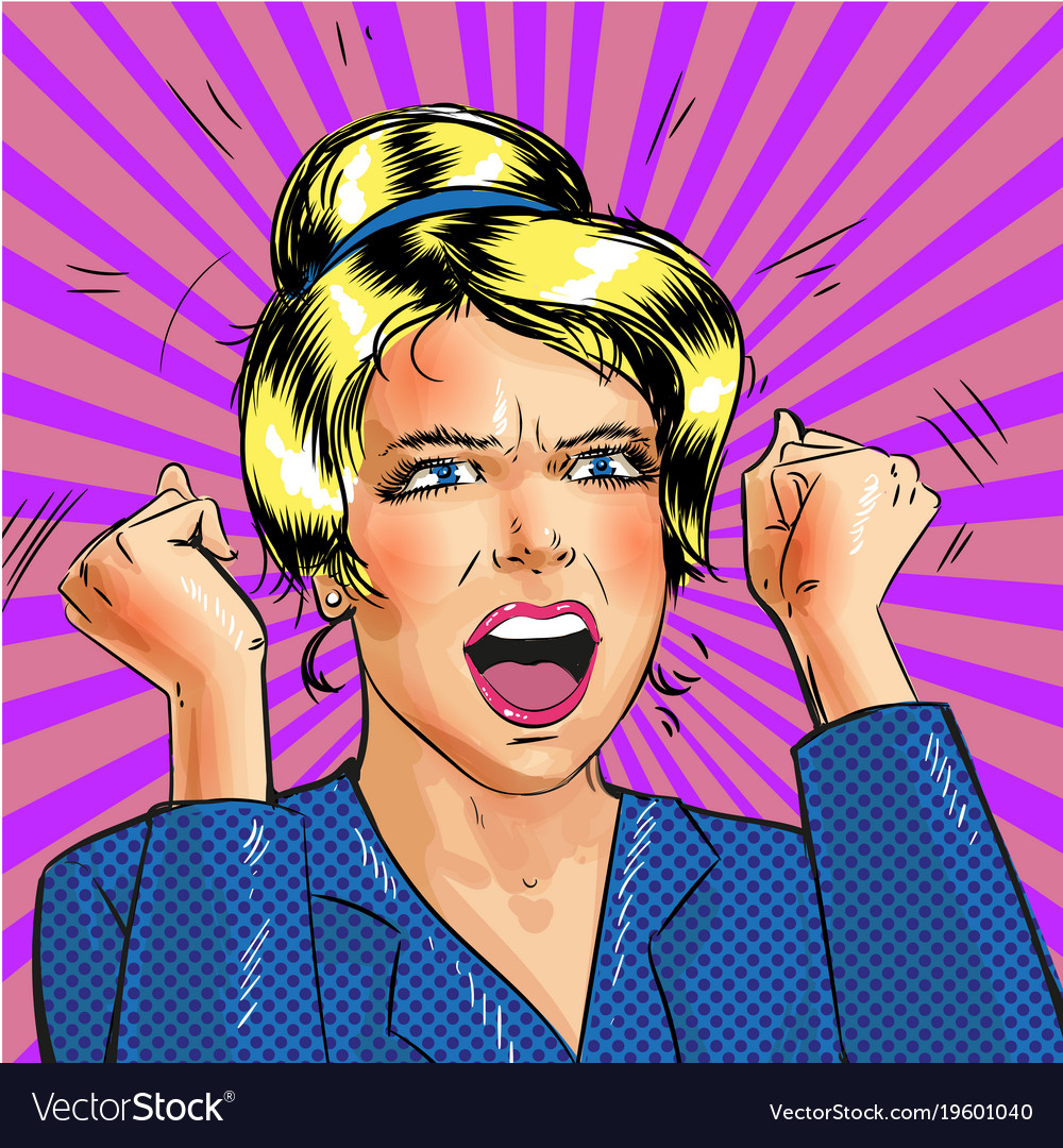 Pop art excited woman with hands up