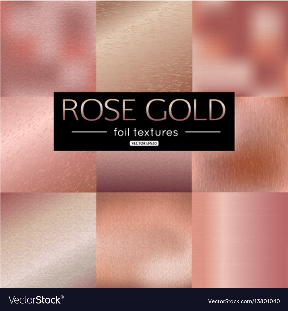 Set of rose gold gradients collection pink vector image