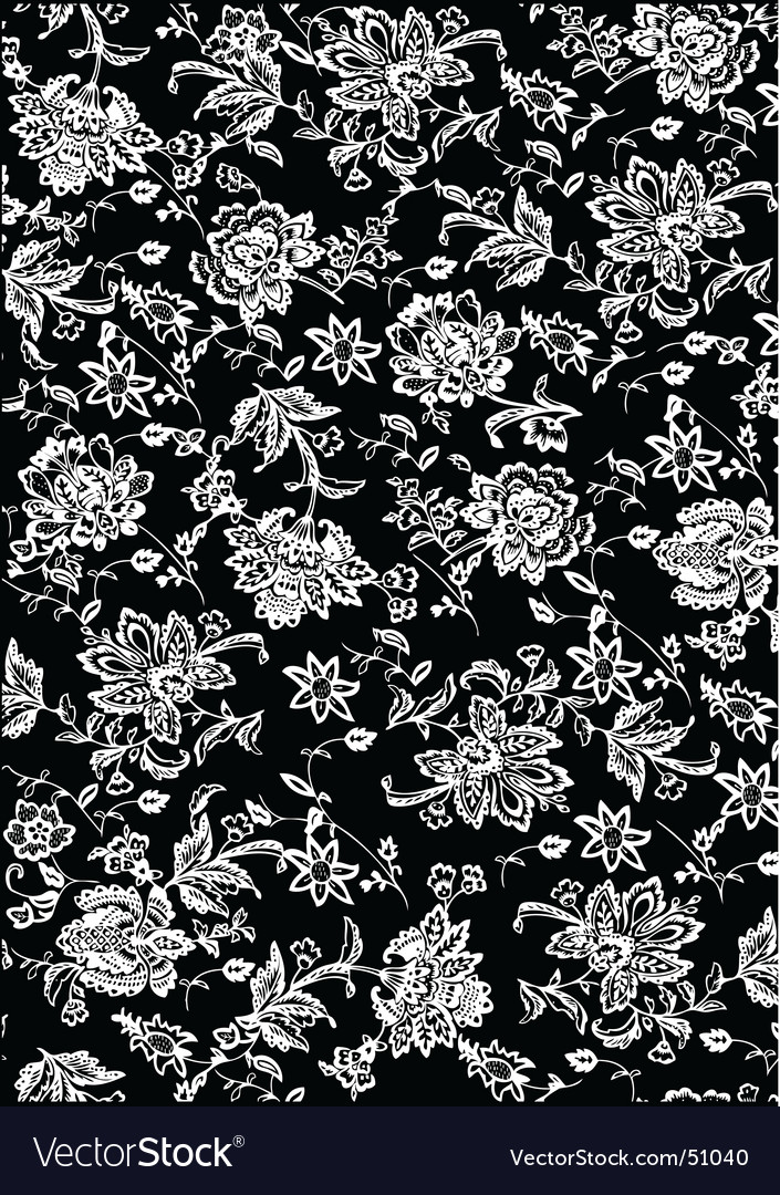 free shipping 6795a 2a9b0 White and black flower pattern vector image