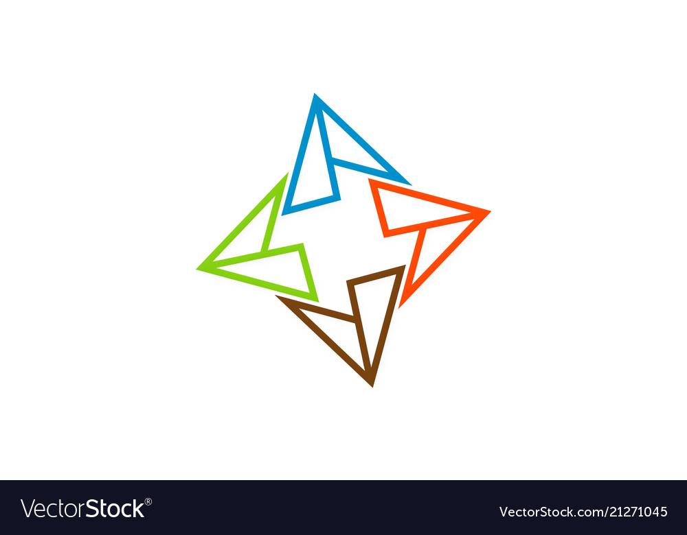 Circle triangle geometry colored logo
