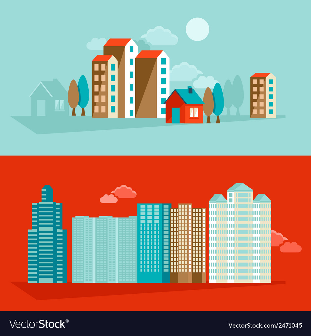 City in flat simple style