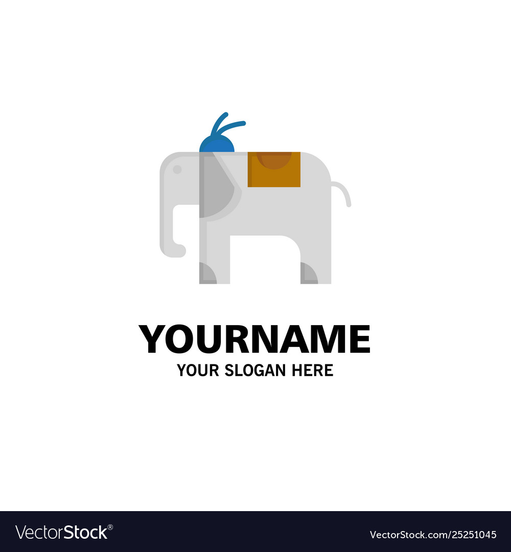 Elephant animal business logo template flat color