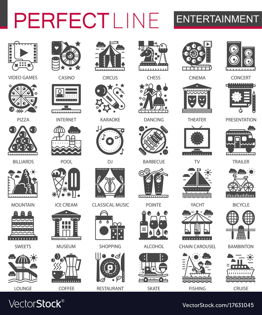 Entertainment classic black mini concept symbols