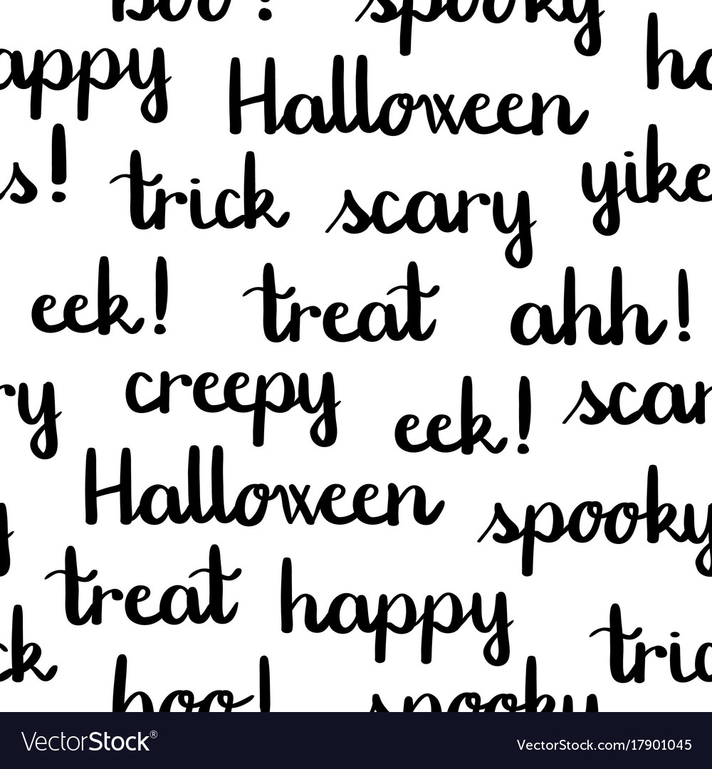 halloween words black lettering seamless pattern vector image