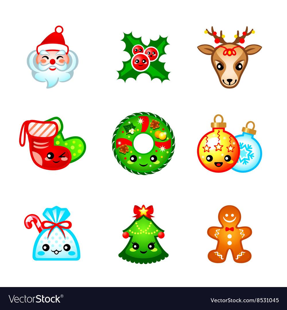Kawaii Christmas icons Royalty Free Vector Image