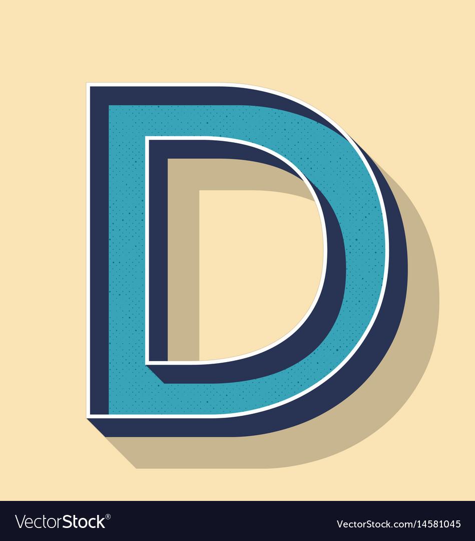 Letter d retro text style fonts concept vector image