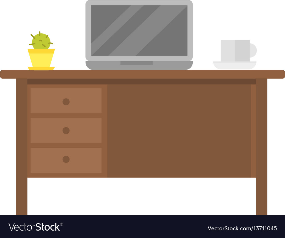Office empty workplace with laptop on wood table
