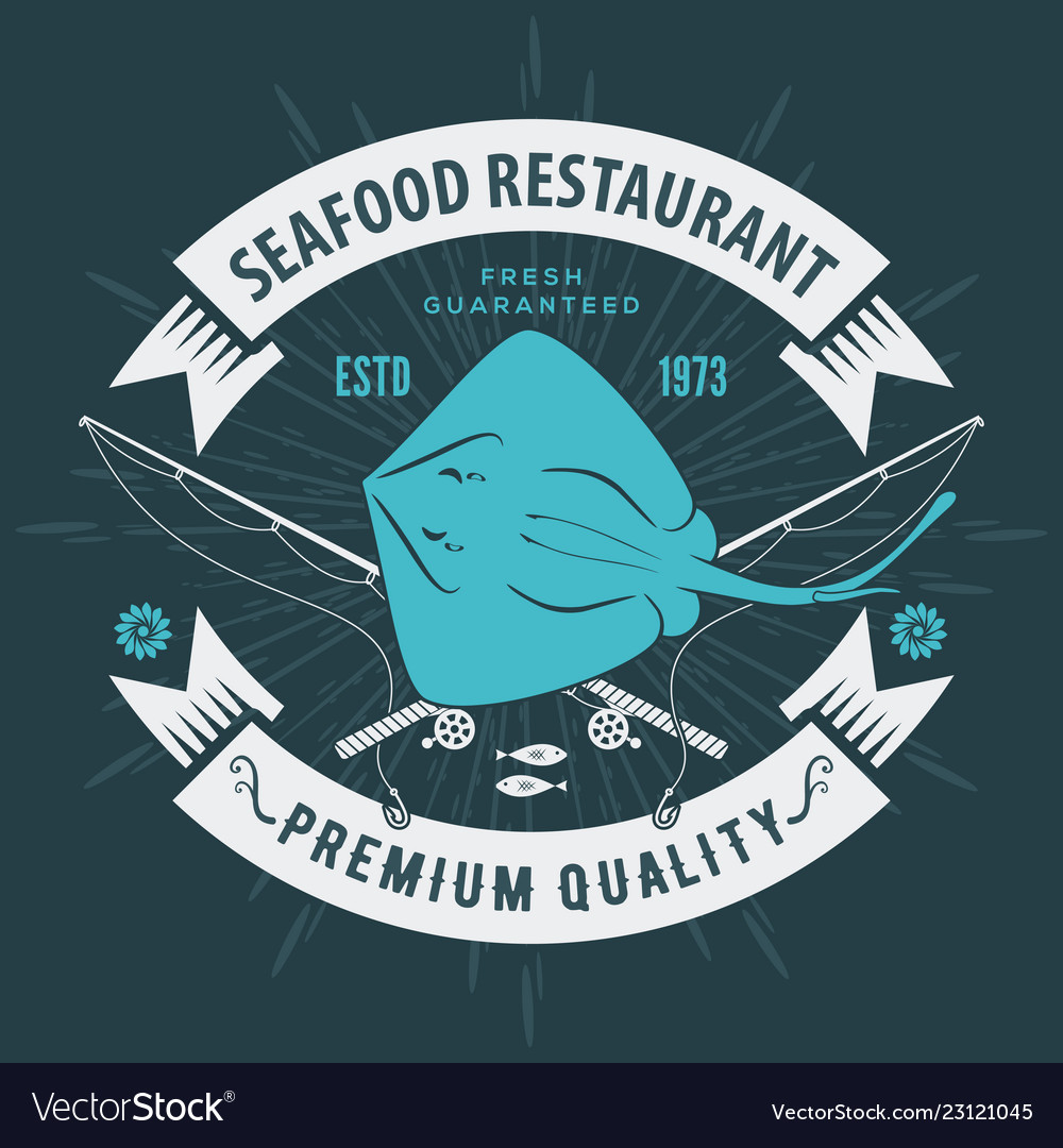 Seafood Restaurant Logo With Ray Fish Royalty Free Vector