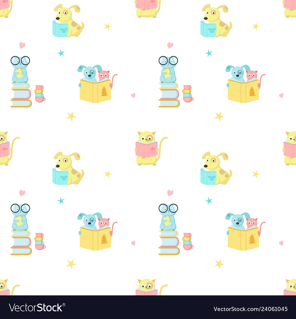 Seamless pattern with cute reading animals
