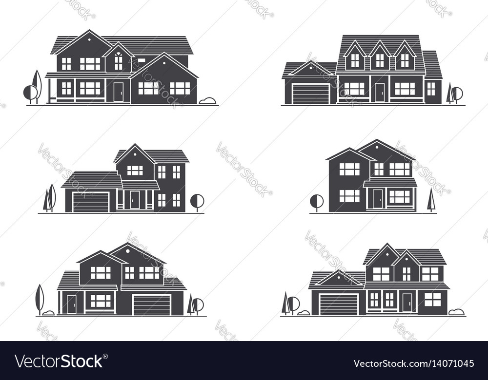 Silhouette suburban american house