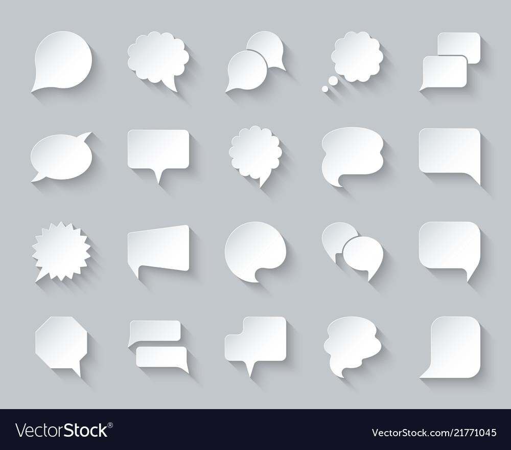 Speech bubble simple paper cut icons set