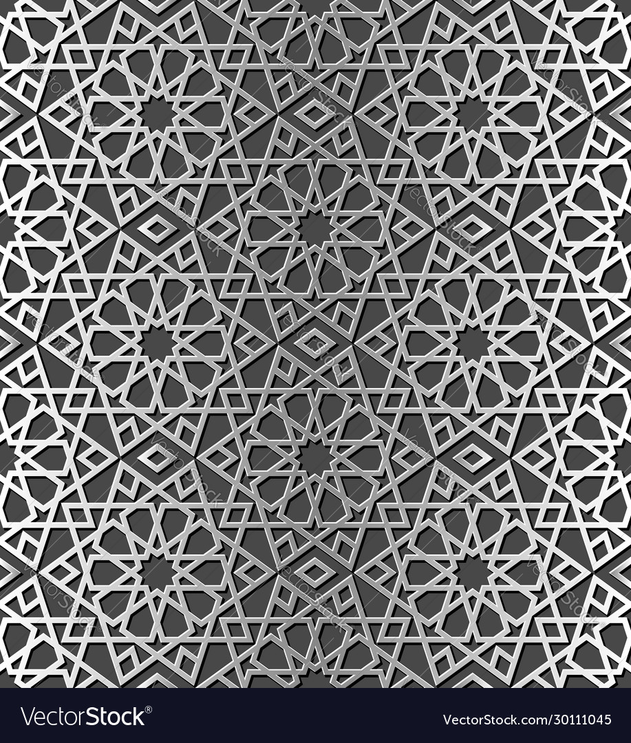 Traditional arabic silver color seamless pattern