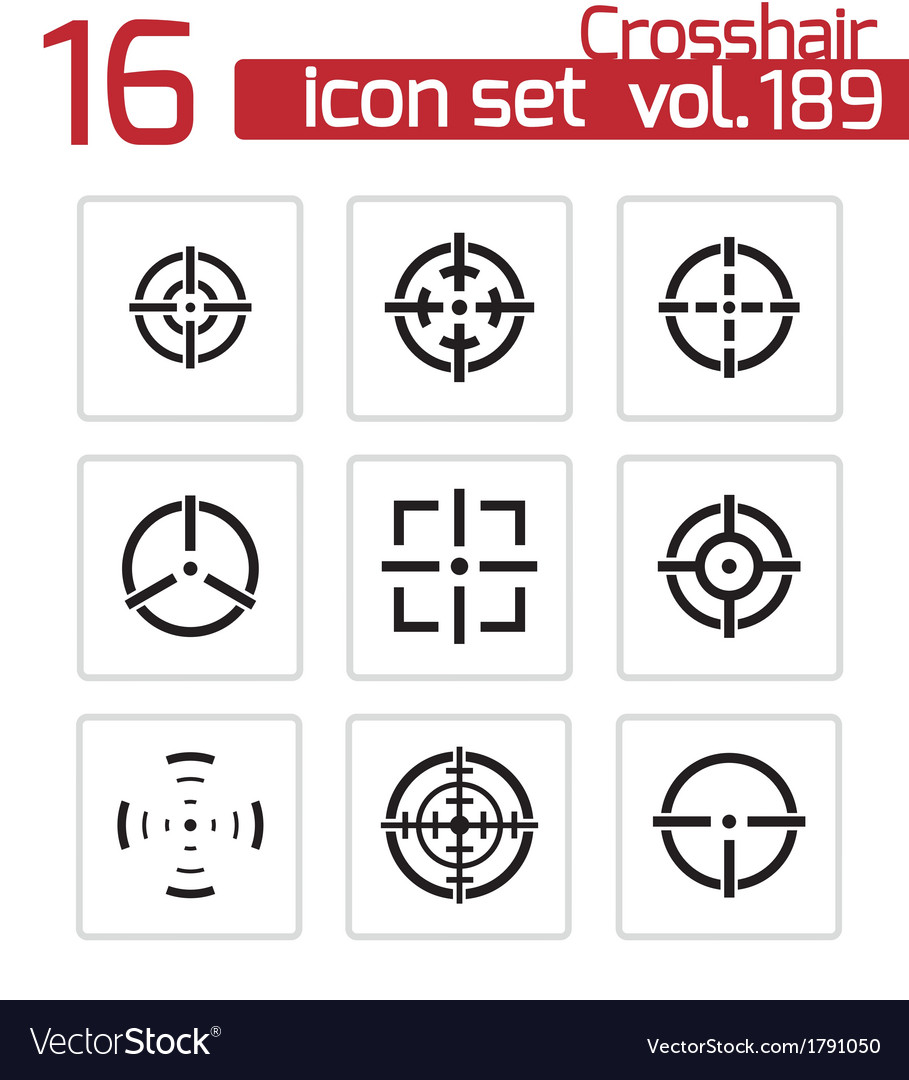 Balck crosshair icons set