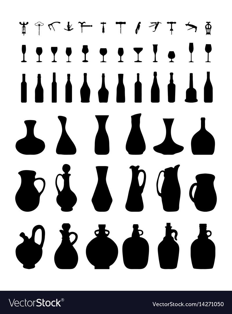 Bottles glasses and corkscrew