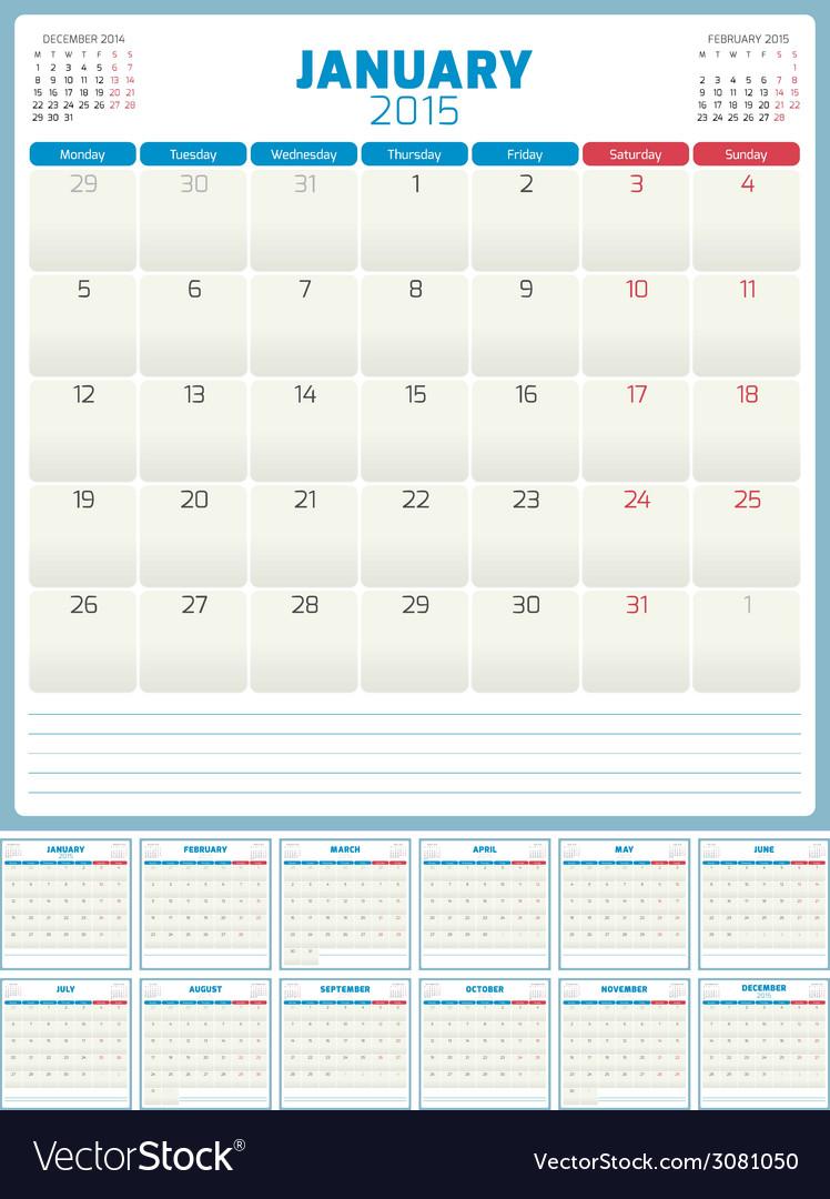 Calendar Planner 2015 Template Week Starts Monday Vector Image