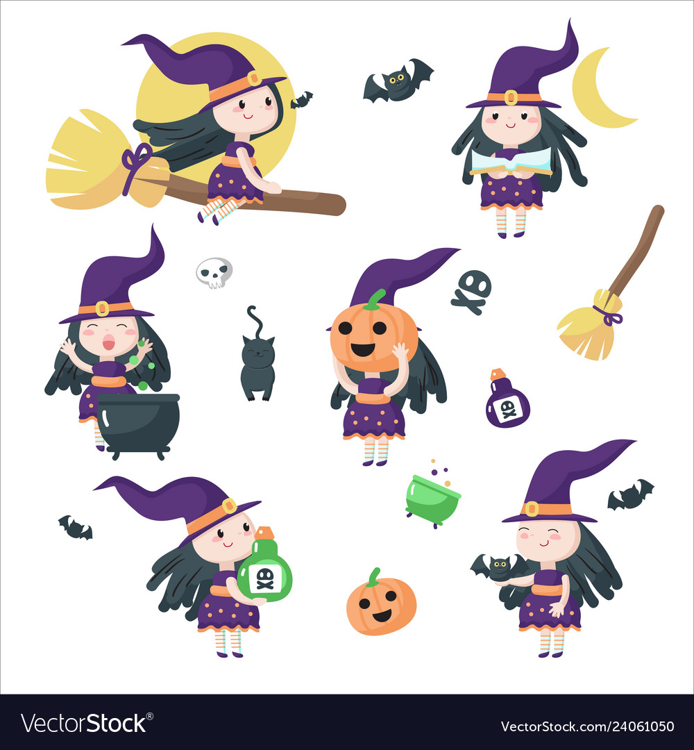 Cute little halloween witches isolated